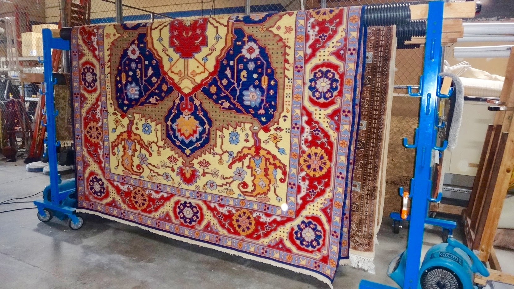 colorful area rug hang drying - Colorful Area Rugs